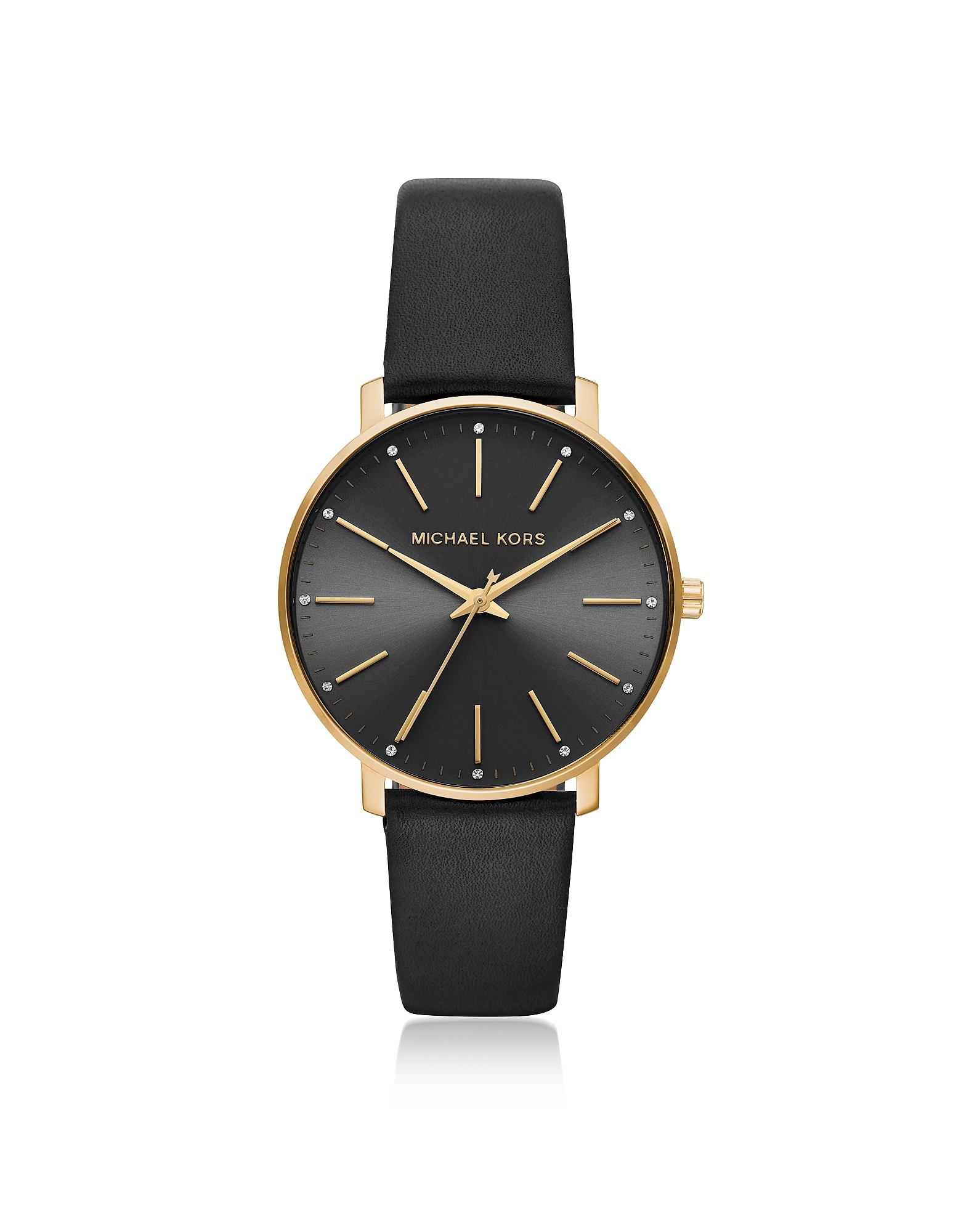 Pyper Gold Tone and Black Leather Watch