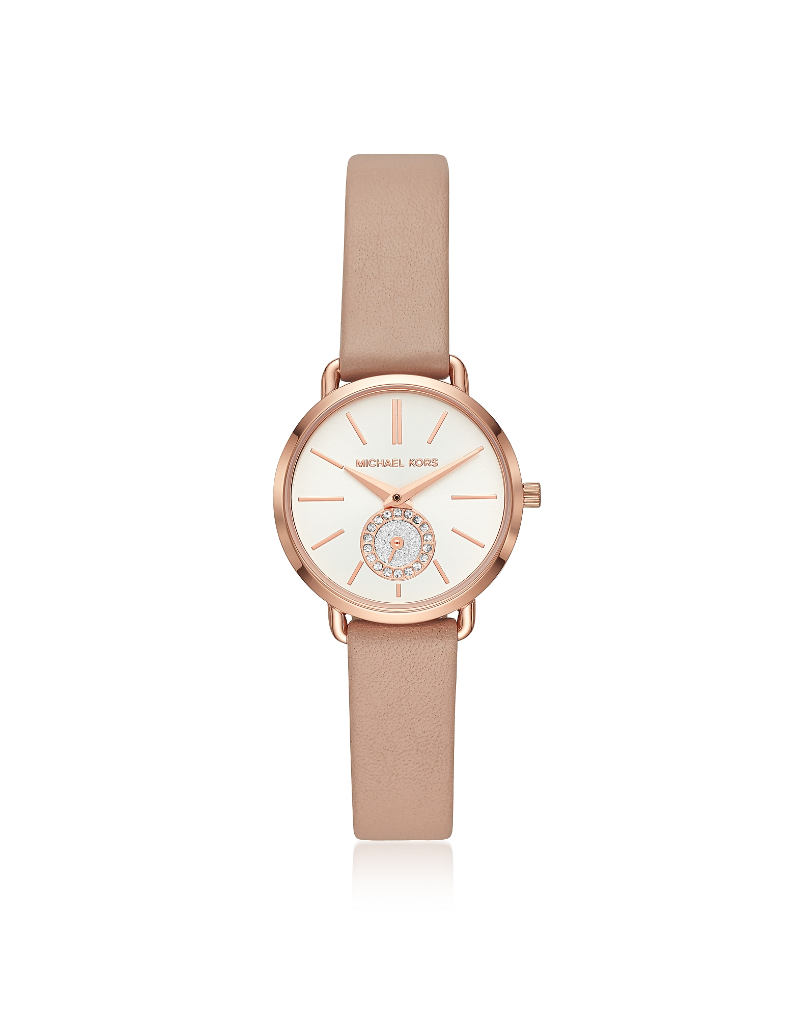 Michael Kors Women's Watches, Petite Portia Rose Gold Tone and Blush Leather Watch