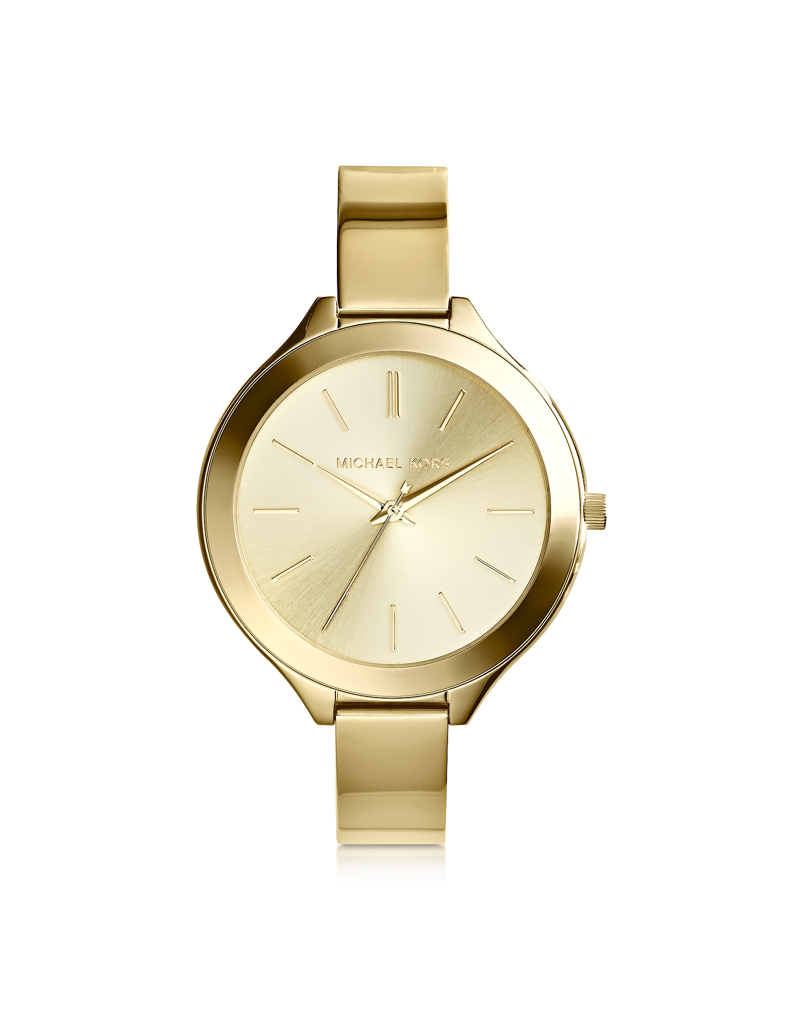 Michael Kors Women's Watches, Mid-Size Golden Stainless Steel Slim Runway Three-Hand Watch