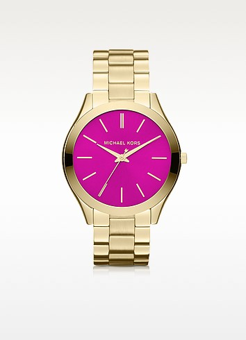 Mid-Size Golden  Stainless Steel Runway Three-Hand Watch - Michael Kors