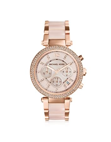 michael kors female 243279 midsize rose golden stainless steel parker chronograph glitz watch