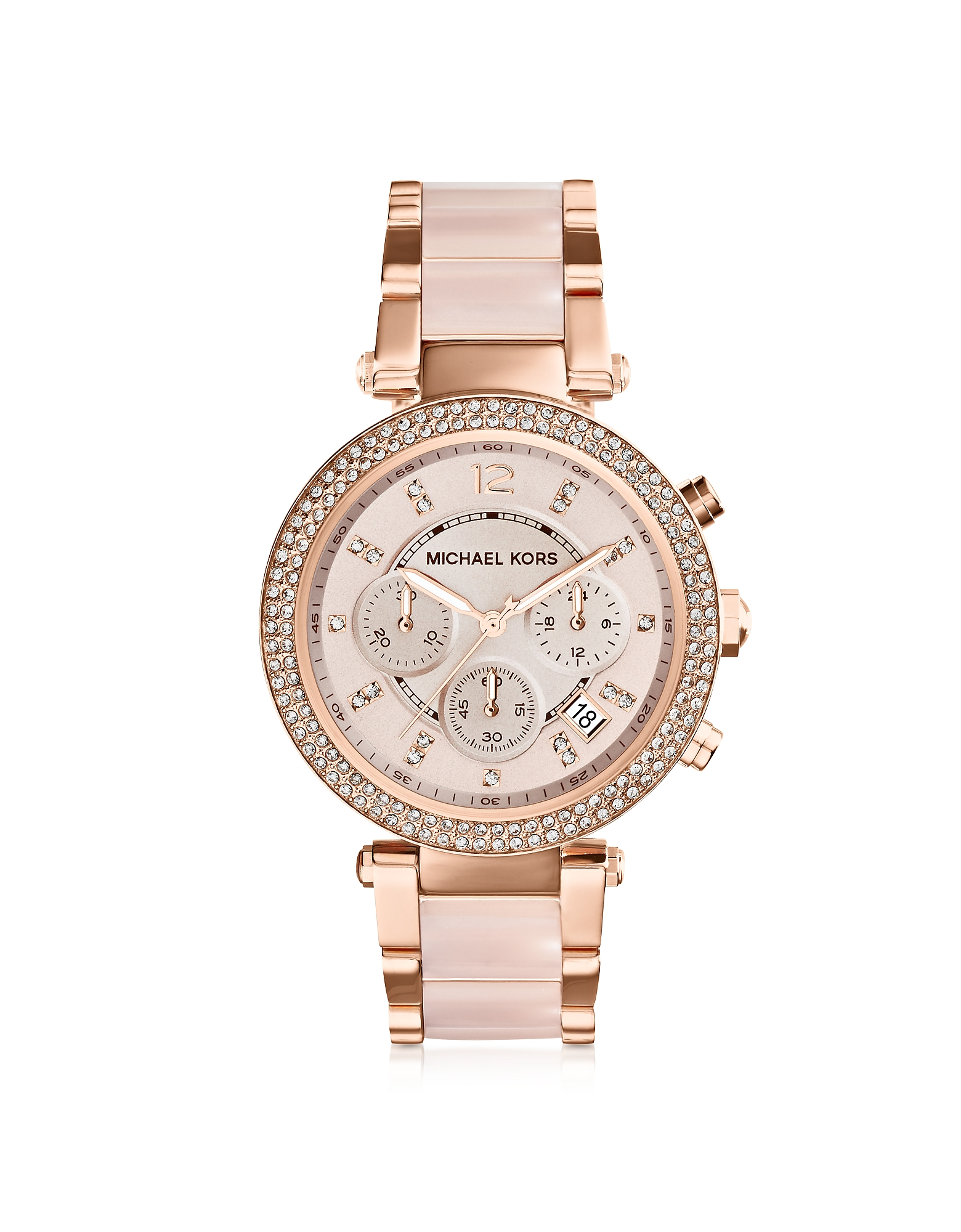 Michael Kors Women's Watches, Mid-Size Rose Golden Stainless Steel Parker Chronograph Glitz Watch
