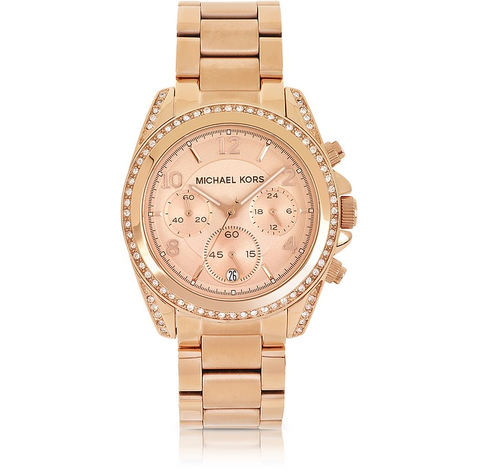 Rose Golden Stainless Steel Blair Chronograph Glitz Women's Watch - Michael Kors