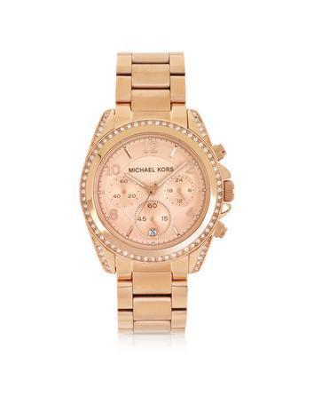 michael kors female rose golden stainless steel blair chronograph glitz womens watch