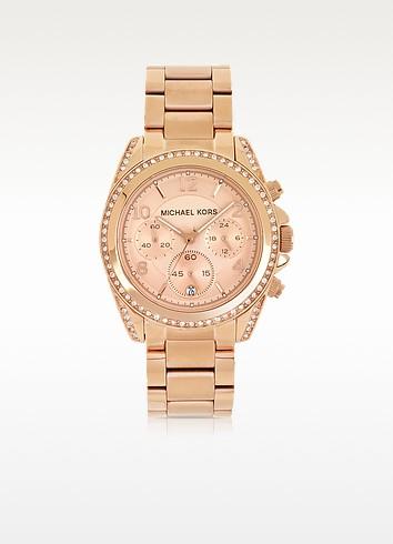 Rose Golden Stainless Steel Blair Chronograph Glitz Women's Watch - Michael Kors