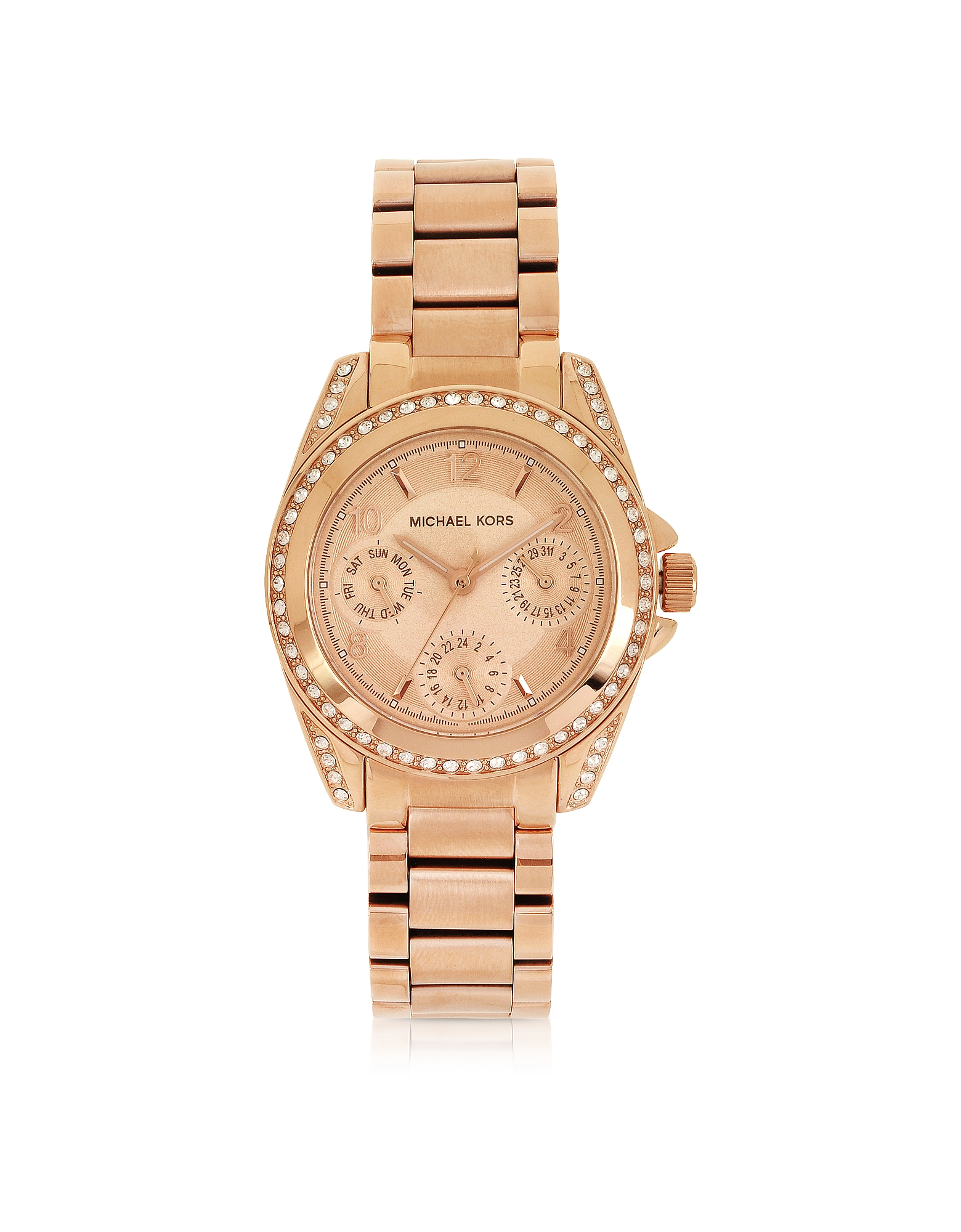 Michael Kors Designer Women's Watches, Rose Golden Mini-Size Blair Multi-Function Glitz Watch
