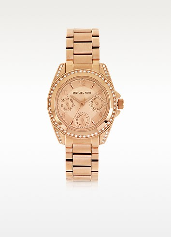 Rose Golden Mini-Size Blair Multi-Function Glitz Watch - Michael Kors