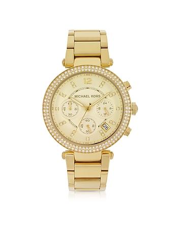 Michael Kors - Golden Stainless Steel Parker Chronograph Glitz Women's Watch