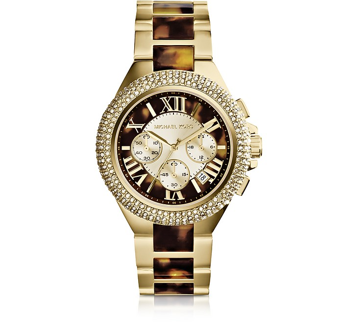 Camille Tortoise and Gold-Tone Stainless Steel Women's Chronograph Watch - Michael Kors
