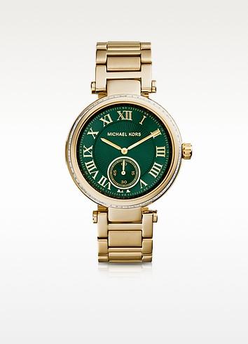Mid-Size Golden Stainless Steel Skylar Three-Hand Glitz Watch - Michael Kors