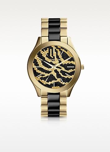 Slim Runway Black and Golden Stainless Steel Three-Hand Glitz Watch  - Michael Kors