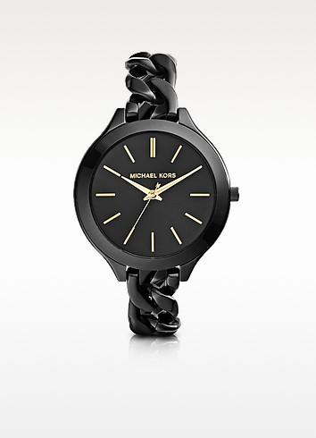 Slim Runway Black Ion-Plated Stainless Steel Link Bracelet Watch - Michael Kors