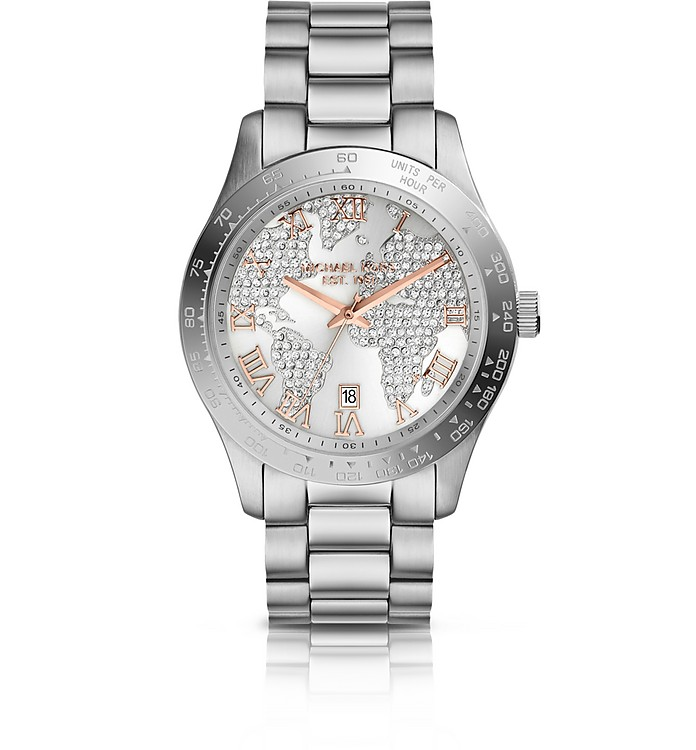 Mid-Size Silver Color Stainless Steel Layton Glitz Watch - Michael Kors