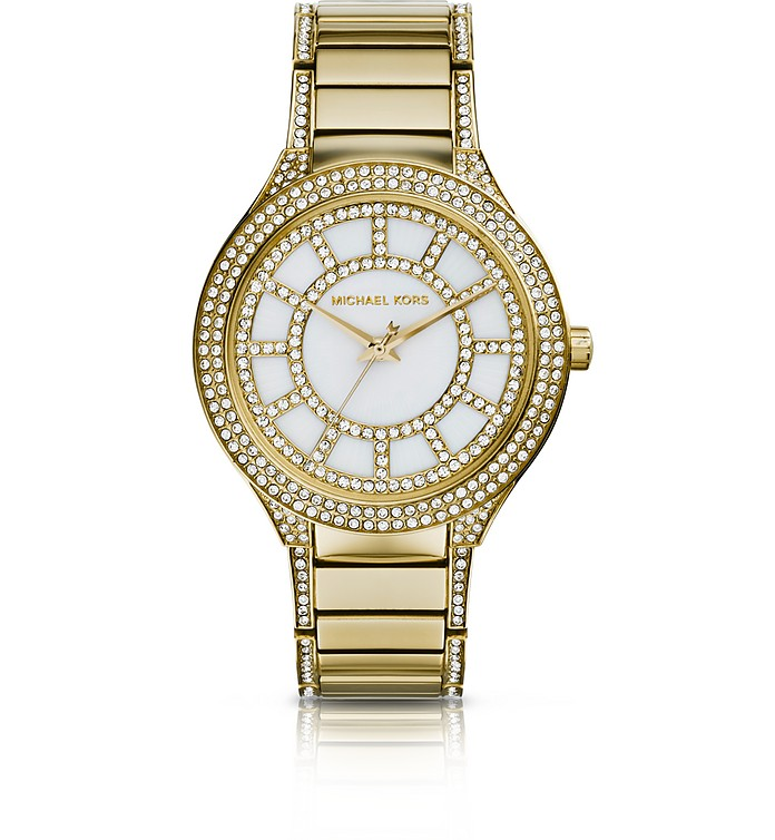 Mid-Size Golden Stainless Steel Kerry Three-Hand Glitz Watch - Michael Kors