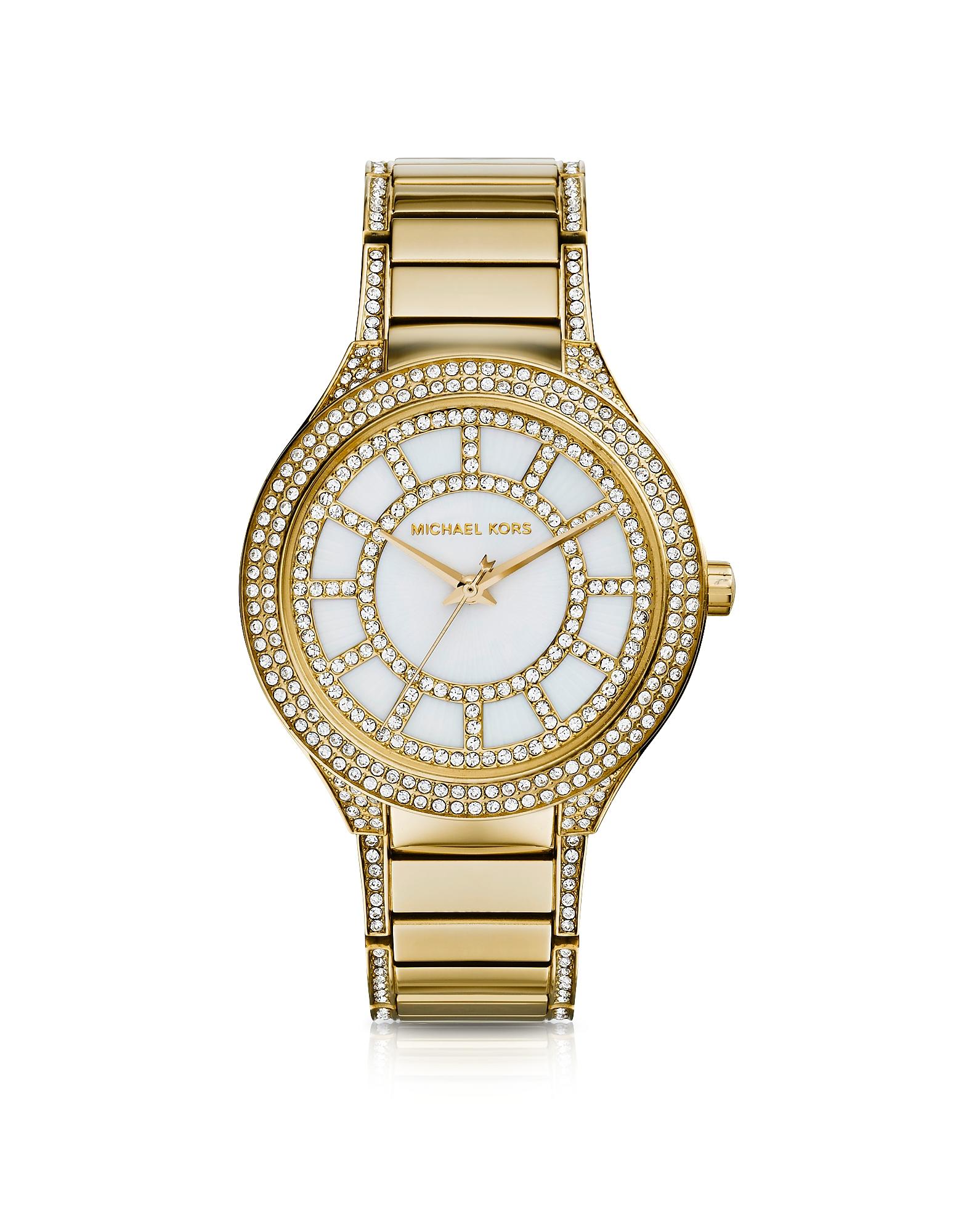 Kerry - Часы из Золотистой Нержавеющей Стали с  Кристаллами Среднего Размера