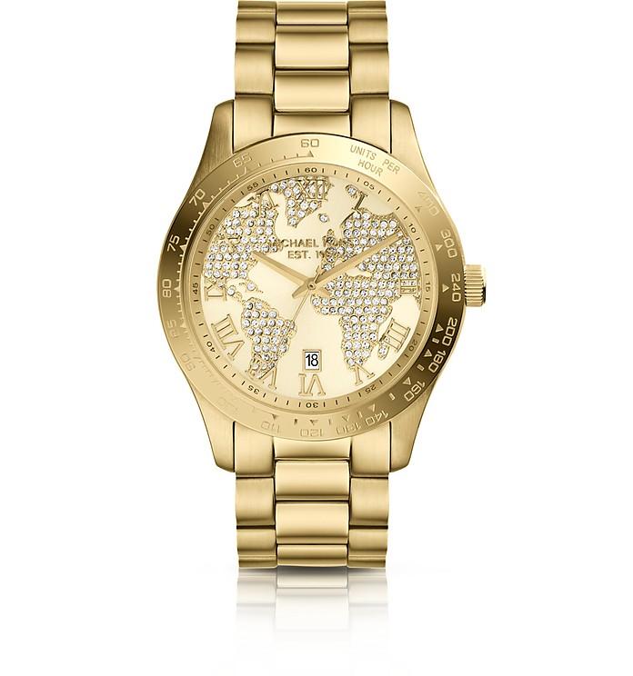 Mid-Size Golden Stainless Steel Layton Three-Hand Glitz Watch - Michael Kors
