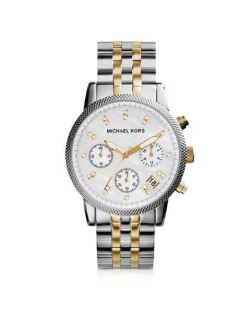michael kors female 45900 ritz two tone stainless steel womens watch