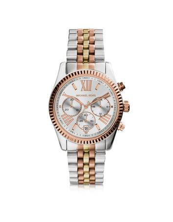 michael kors female 45900 lexington tri tone stainless steel womens watch