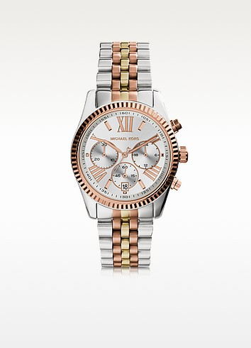 Lexington Tri Tone Stainless Steel Women's Watch - Michael Kors