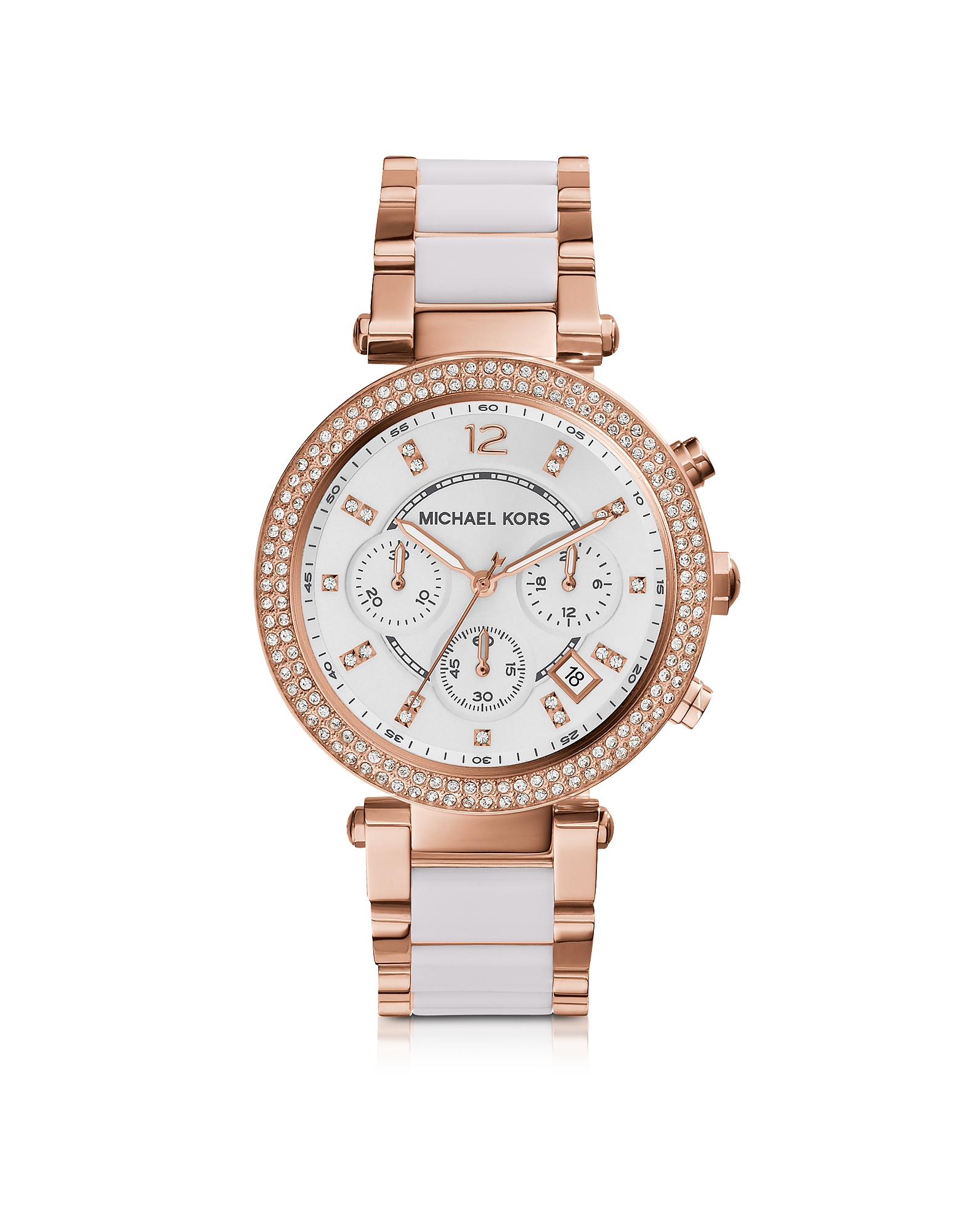 Michael Kors Women's Watches, Parker Stainless Steel and White Acetate Women's Watch