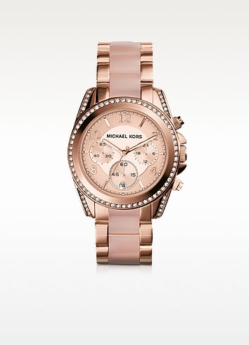 Blair Rose Gold Tone Stainless Steel and Acetate Women's Watch  - Michael Kors
