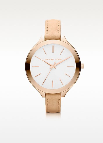 Runway Slim Rose Leather Strap Watch - Michael Kors