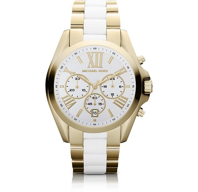 Bradshaw Gold Tone White Chronograph Watch - Michael Kors