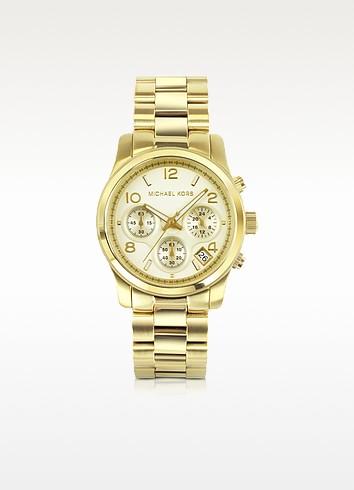 Women's Chronograph Runway Gold-Tone Stainless Steel Bracelet Watch - Michael Kors
