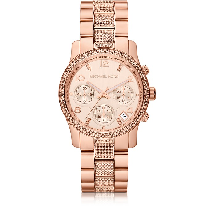 Mid-Size Rose Golden Stainless Steel Runway Chronograph Glitz Watch - Michael Kors