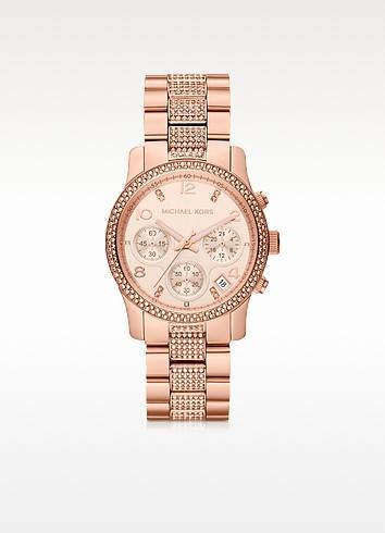 Mid-Size Rose Golden Stainless Steel Runway Chronograph Glitz Watch - Michael Kors