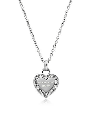 Michael Kors - Heritage Stainless Heart Necklace w/Crystals