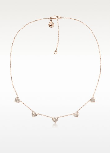 Pave Delicate Heart Rose Golden Stainless Steel Women's Necklace - Michael Kors
