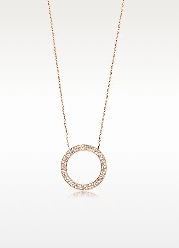 Pave Circle Rose Golden Steel Women's Pendant Necklace - Michael Kors