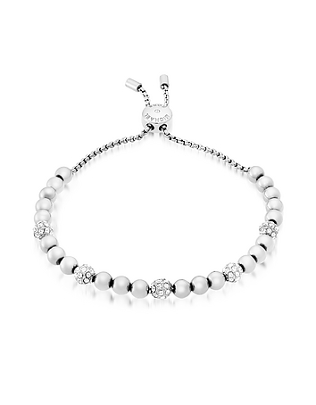 Brilliance Stainless Steel and Crystals Beads Bracelet