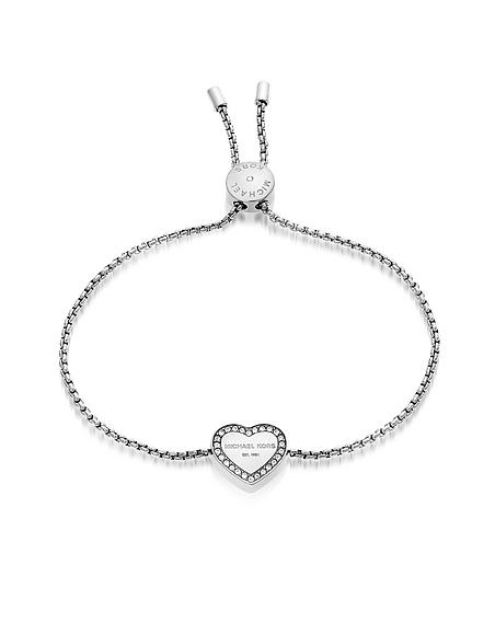Michael Kors Heritage - Bracelet en Acier Inoxydable Argent avec Coeur en Cristaux
