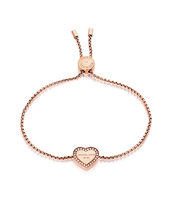 Heritage PVD Rose Goldtone Stainless Heart Bracelet w/Crystals