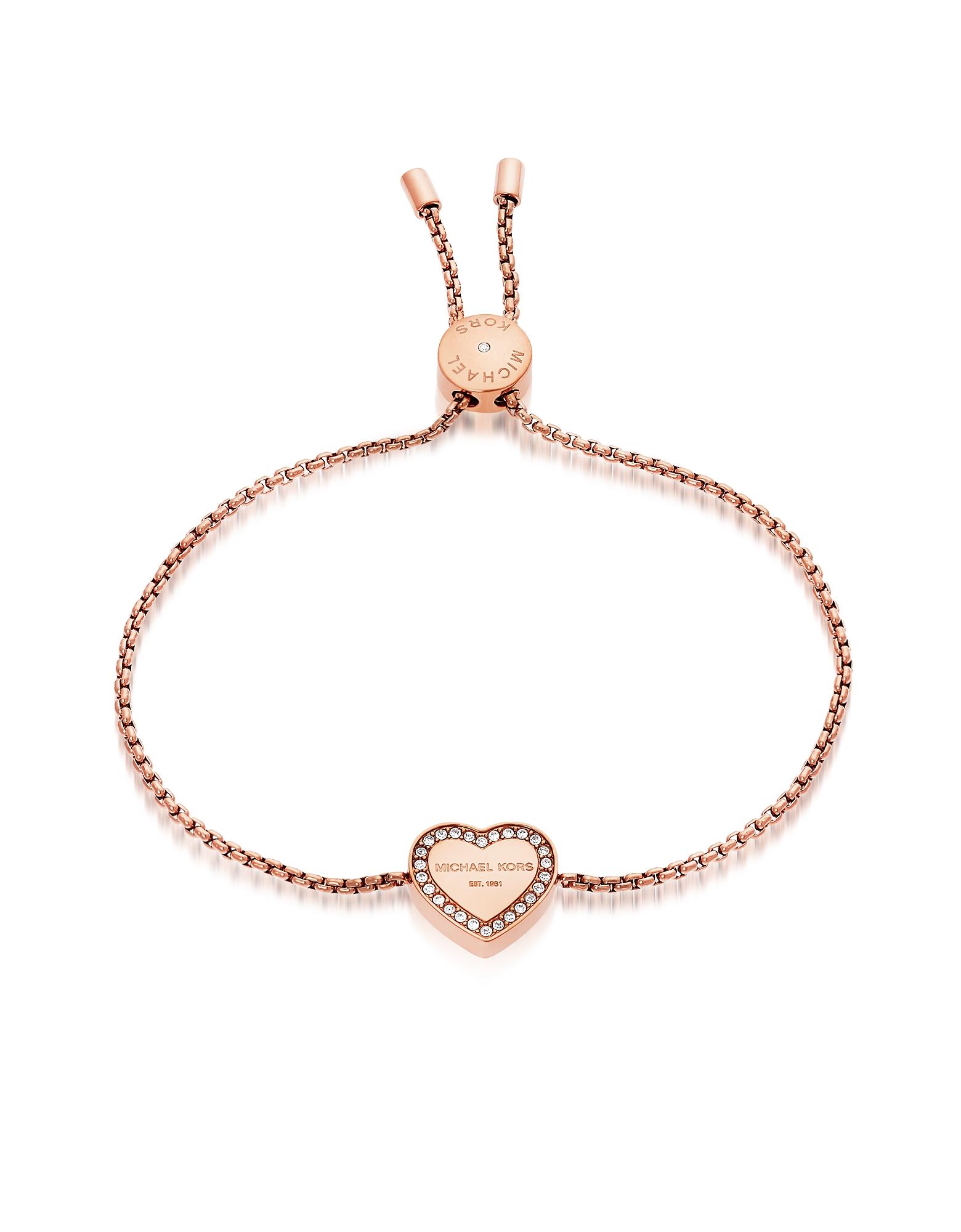 Michael Kors Bracelets, Heritage PVD Rose Goldtone Stainless Heart Bracelet w/Crystals