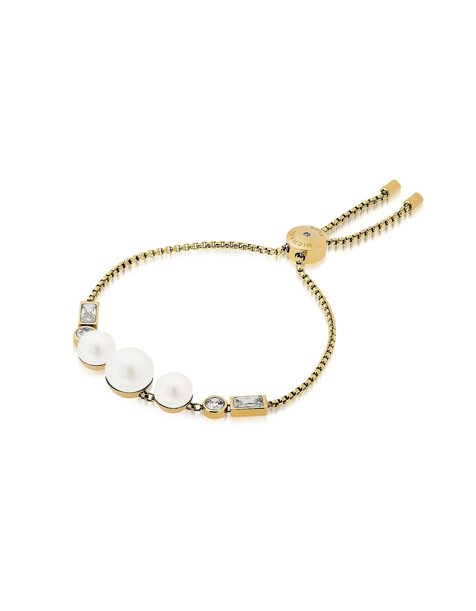 Brilliance - Золотистый Браслет с Кристаллами и Белыми Жемчужинами