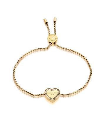 Michael Kors - Heritage Goldtone Heart Bracelet w/Crystals