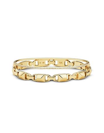 Gold Mercer Link Pavé Halo Women's Bracelet