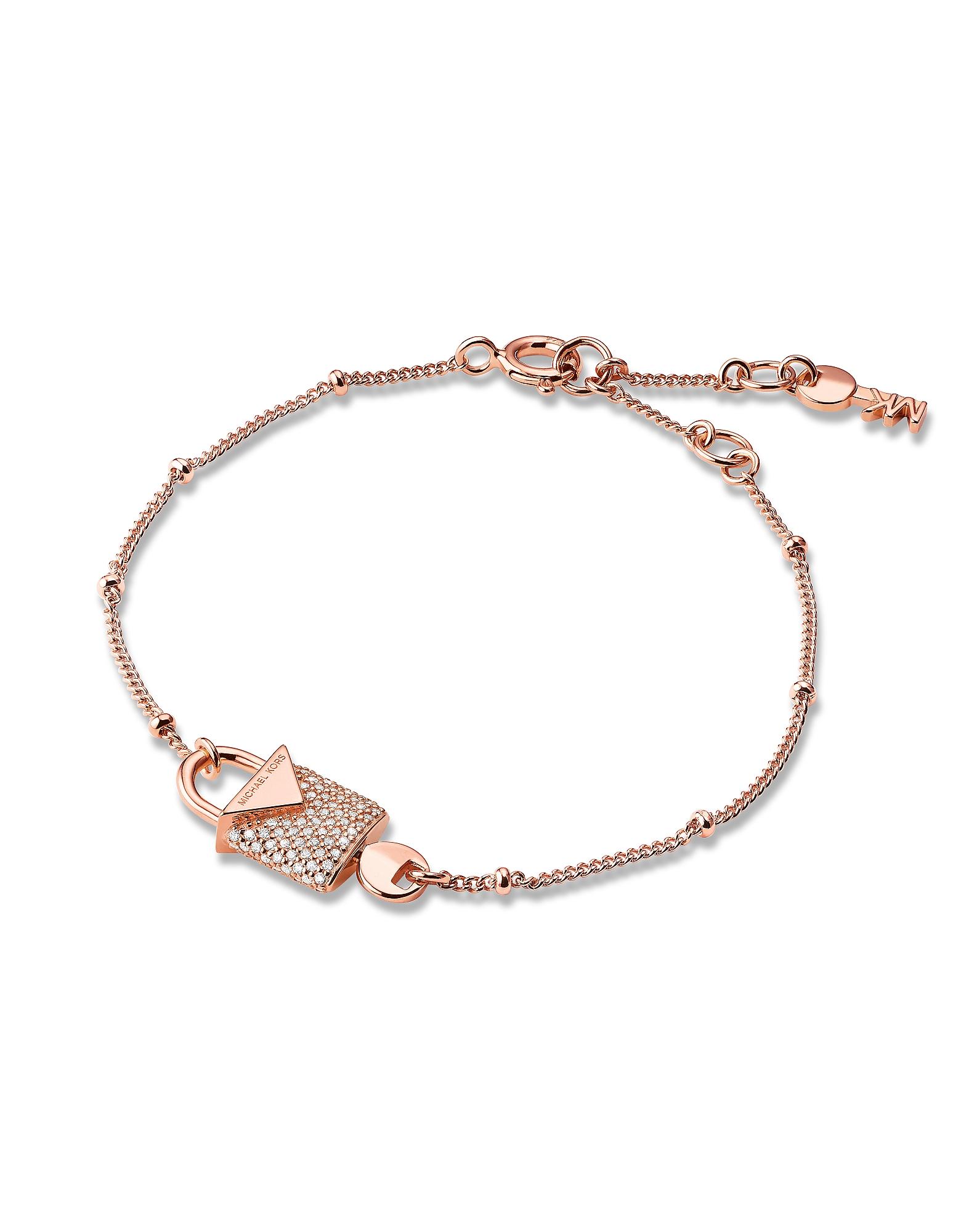 Kors Rose Gold Pavé Lock Women's Bracelet