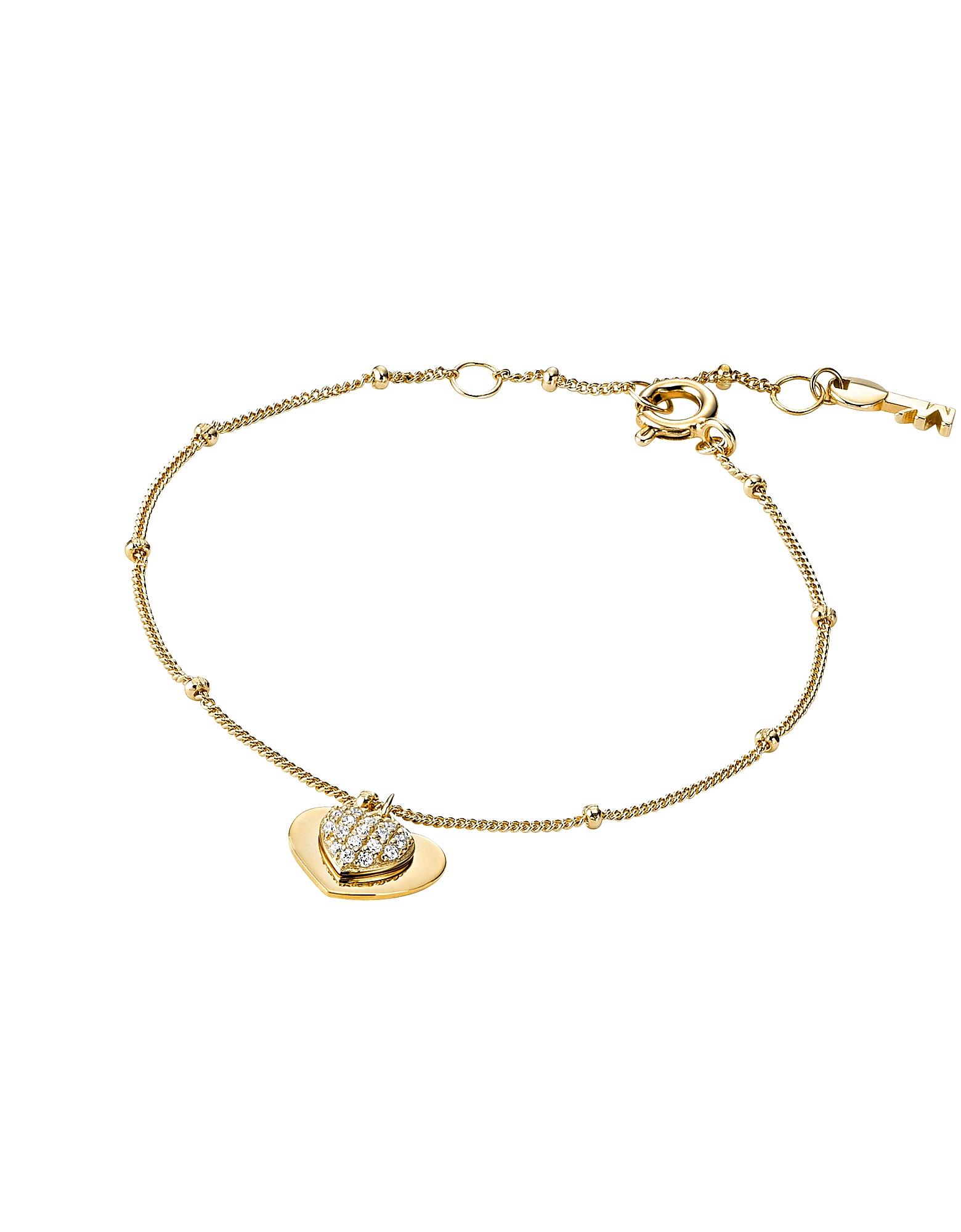 Michael Kors Designer Bracelets, Kors Love 14K Gold Plated Sterling Silver Pavé Heart Bracelet