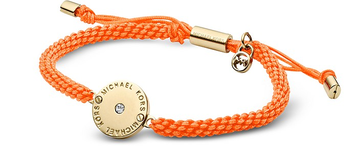 Orange Cord and Golden Stainless Steel Logo Disc Women's Bracelet - Michael Kors