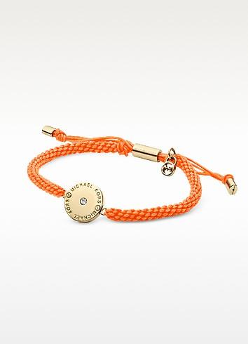 Orange Cord and Golden Stainless Steel Logo Disc Women's Bracelet - Michael Kors