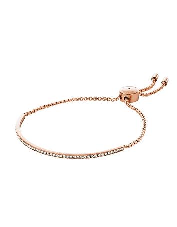 Brilliance Rose Gold Tone Metal Bracelet w/Crystals