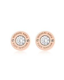 Iconic Stainless Steel Stud Earrings w/Crystals - Michael Kors