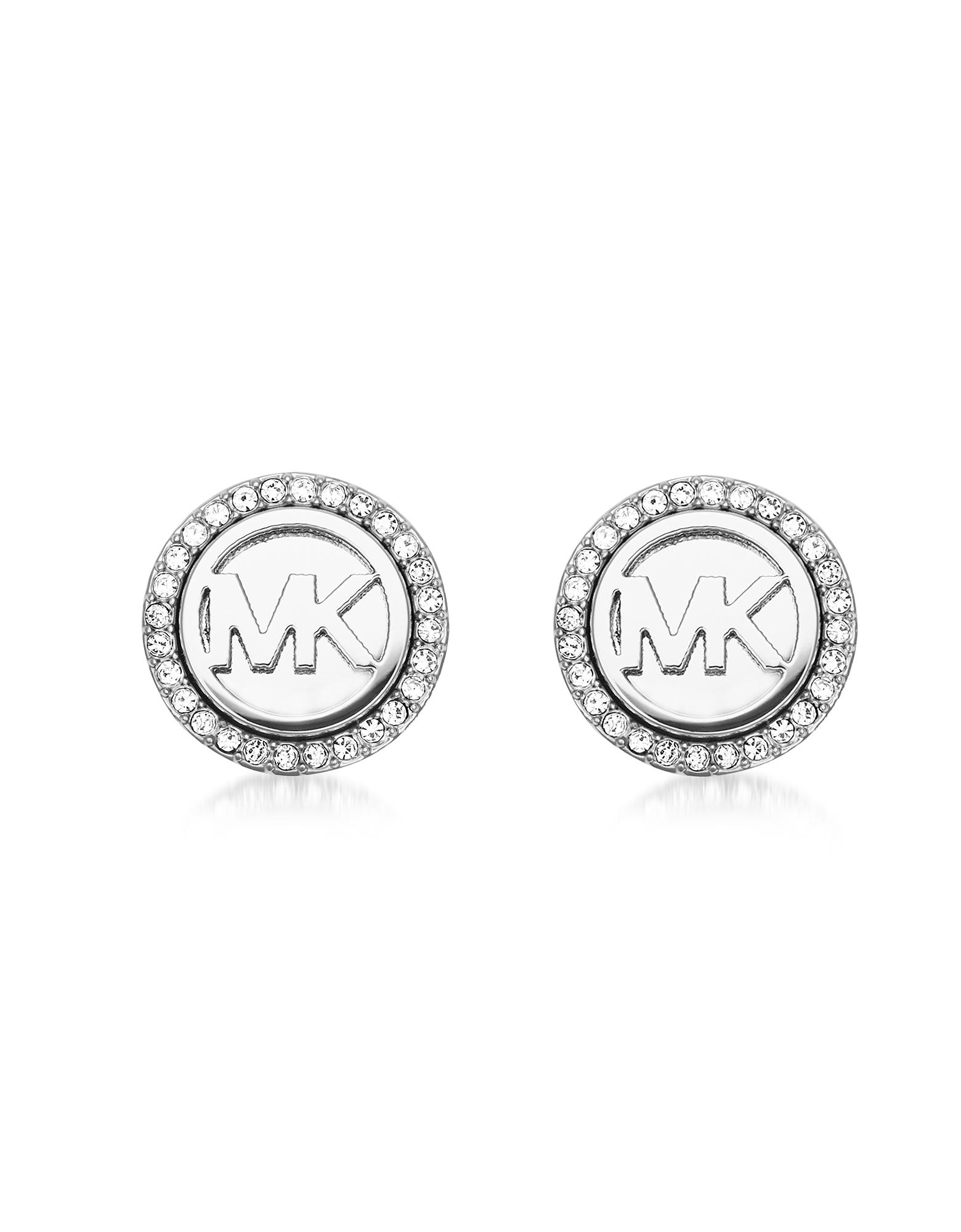 Michael Kors Earrings, Logo Silvertone Stainless Steel Stud Earrings