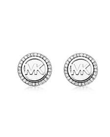 Logo Silvertone Stainless Steel Stud Earrings - Michael Kors