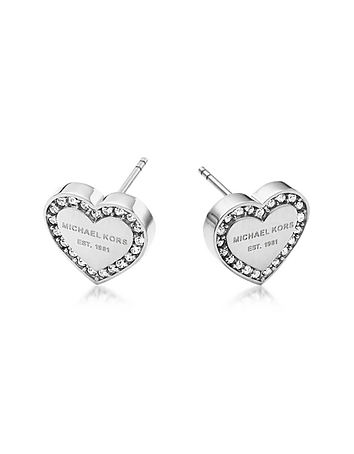 Michael Kors - Heritage Stainless Heart Earrings w/Crystals