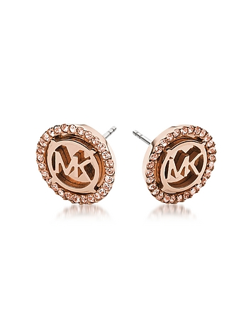 Michael Kors - Heritage PVD Rose Goldtone Stainless Earrings w/Crystals